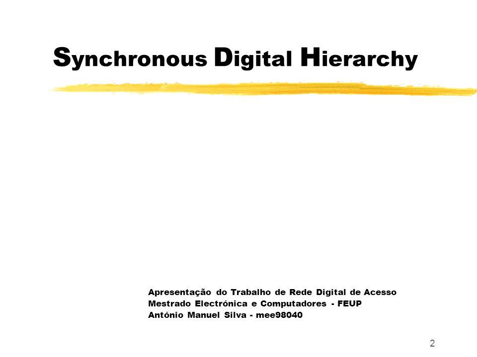 2 S ynchronous D igital H ierarchy Apresentação do Trabalho de Rede Digital de Acesso Mestrado Electrónica e Computadores - FEUP António Manuel Silva - mee98040