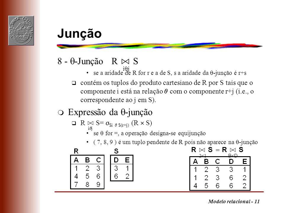 Modelo relacional - 11 Junção 8 - -Junção R S se a aridade de R for r e a de S, s a aridade da -junção é r+s q contém os tuplos do produto cartesiano