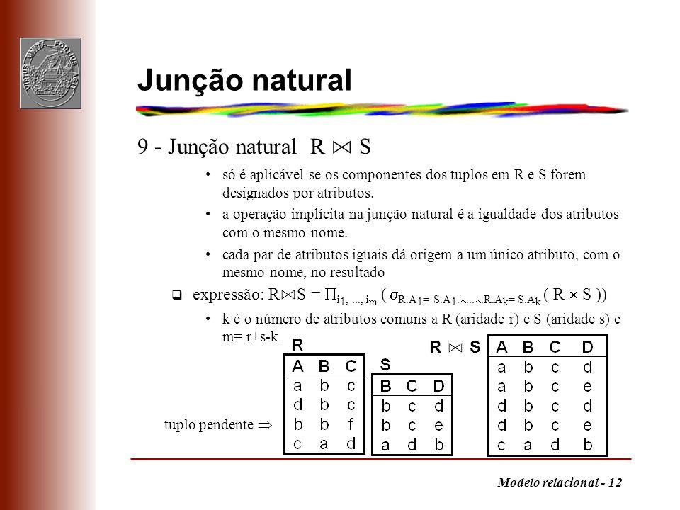 Modelo relacional - 12 Junção natural 9 - Junção natural R S só é aplicável se os componentes dos tuplos em R e S forem designados por atributos. a op
