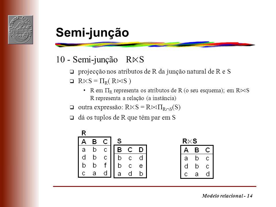 Modelo relacional - 14 Semi-junção 10 - Semi-junção R S q projecção nos atributos de R da junção natural de R e S R S = R ( R S ) R em R representa os