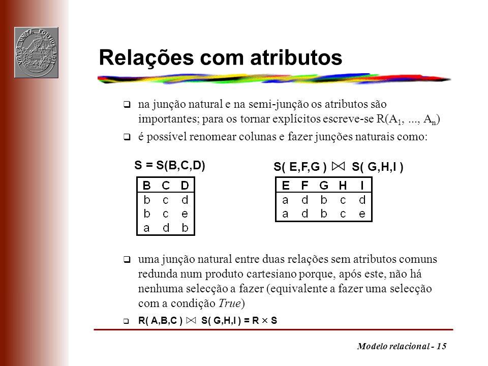Modelo relacional - 15 Relações com atributos q na junção natural e na semi-junção os atributos são importantes; para os tornar explícitos escreve-se