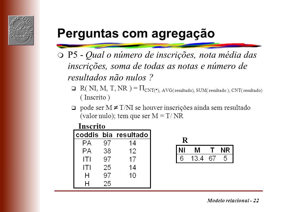 Modelo relacional - 22 Perguntas com agregação m P5 - Qual o número de inscrições, nota média das inscrições, soma de todas as notas e número de resul