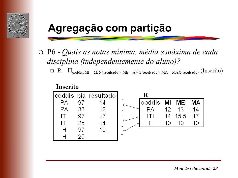Modelo relacional - 23 Agregação com partição m P6 - Quais as notas mínima, média e máxima de cada disciplina (independentemente do aluno)? R = Π codd