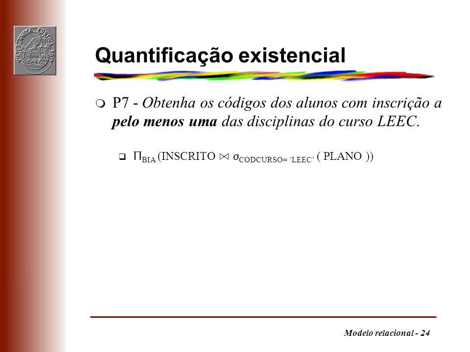 Modelo relacional - 24 Quantificação existencial m P7 - Obtenha os códigos dos alunos com inscrição a pelo menos uma das disciplinas do curso LEEC. Π