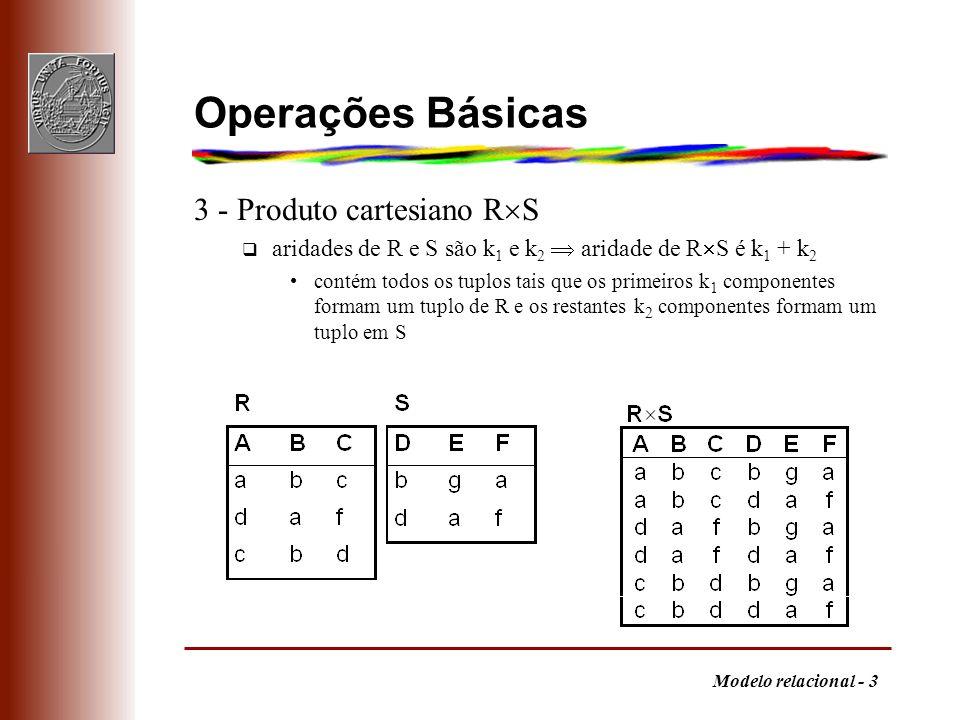 Modelo relacional - 4 Operações Básicas 4 - Projecção i 1, i 2,..., i m (R) q para cada tuplo em R existe um tuplo na projecção com os componentes (e pela ordem) indicados pelos i j se aridade de R for k então os i j 1,..., k e são distintos; aridade da projecção é m números de componentes podem ser substituídos por atributos, se existirem: 1,3 (R) = A,C (R) Projecção escolhe colunas da tabela
