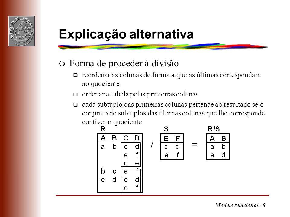 Modelo relacional - 9 Expressão do quociente q T = 1,..., r-s (R) = universo dos tuplos possíveis no resultado q W = (T S) - R= todas as linhas T combinadas com S mas que não estão em R, i.e., em que a condição falha q V = 1,..., r-s (W) = tuplos que não interessam q R / S = T - V= tuplos que interessam reunindo numa só expressão algébrica R / S= 1,..., r-s (R) - 1,..., r-s 1,..., r-s (R) S - R