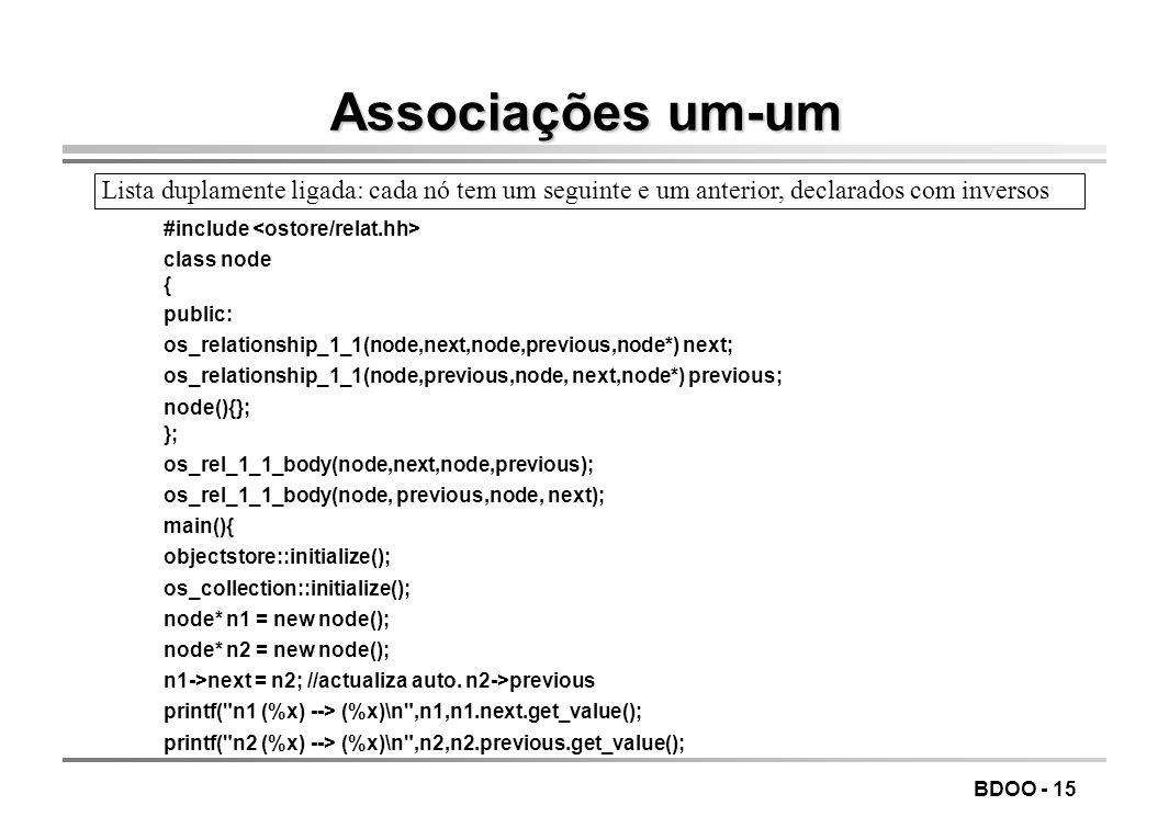 BDOO - 14 Definição das associações odefinem-se as associações e usam-se macros para os respectivos corpos definições - os_relationship_1_1 um-para-um