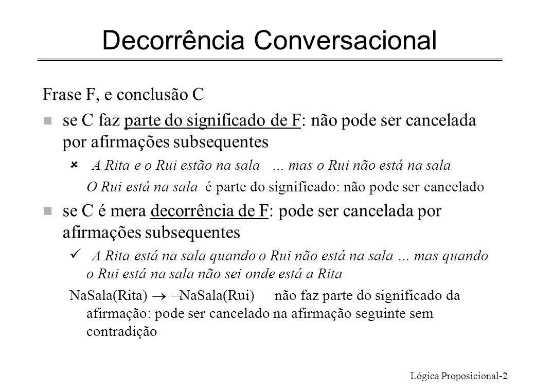 Lógica Proposicional-3 Métodos de prova usando e Estritamente: podem usar-se só as regras para, e Provas mais naturais: usam regras próprias para e n Passos de prova: n Modus ponens ou eliminação do condicional – tendo estabelecido P Q e P pode inferir-se Q n Eliminação do bicondicional – tendo estabelecido Q R ou R Q, tendo Q pode inferir-se R n Equivalências P Q Q P P Q (P Q) P Q P Q (P Q) (Q P) P Q (P Q) ( P Q) contrapositiva