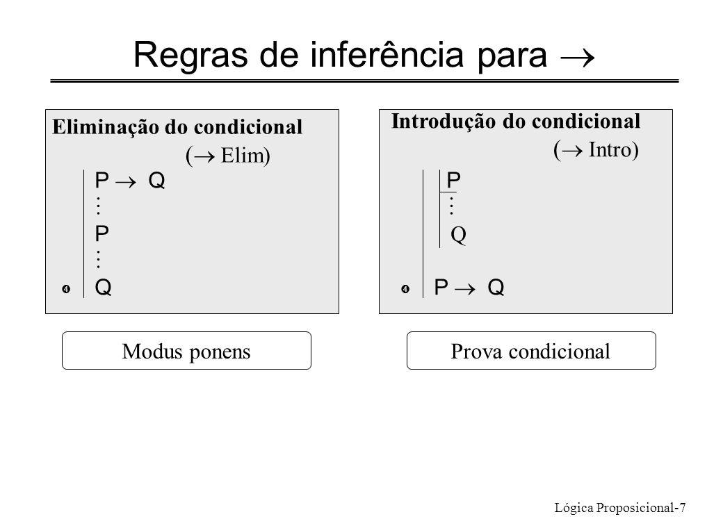 Lógica Proposicional-7 Regras de inferência para Eliminação do condicional ( Elim) P Q P Q  Introdução do condicional ( Intro) P Q P Q  Prova condic