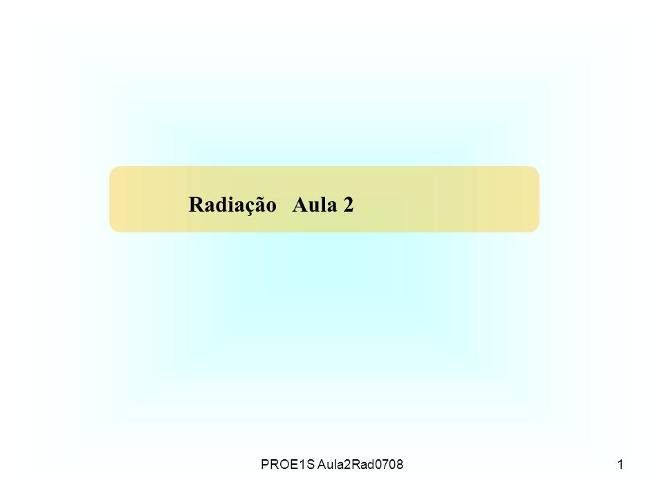 PROE1S Aula2Rad07081 Radiação Aula 2