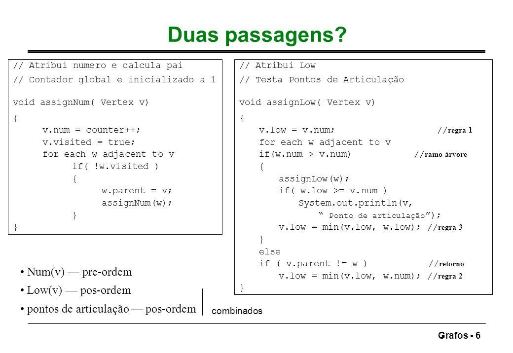 Grafos - 6 Duas passagens? Num(v) pre-ordem Low(v) pos-ordem pontos de articulação pos-ordem combinados // Atribui numero e calcula pai // Contador gl