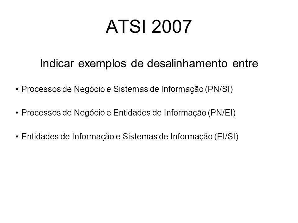 ATSI 2007 Indicar exemplos de desalinhamento entre Processos de Negócio e Sistemas de Informação (PN/SI) Processos de Negócio e Entidades de Informação (PN/EI) Entidades de Informação e Sistemas de Informação (EI/SI)