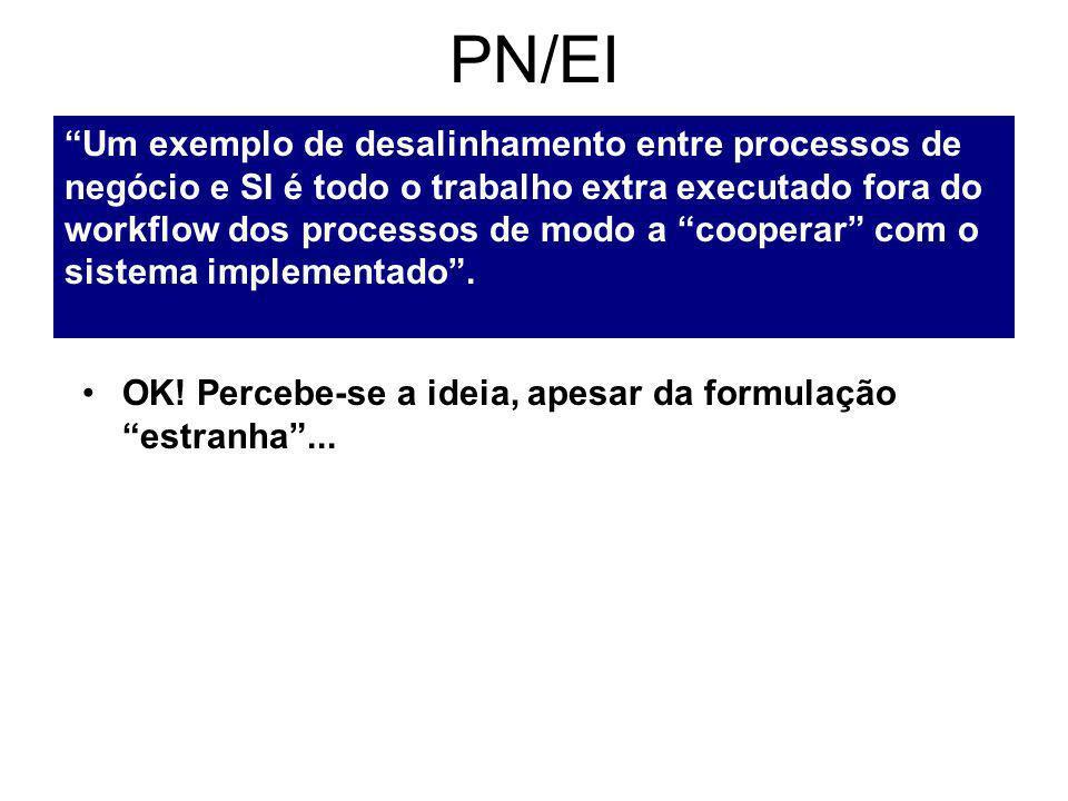 PN/EI Um exemplo de desalinhamento entre processos de negócio e SI é todo o trabalho extra executado fora do workflow dos processos de modo a cooperar com o sistema implementado.