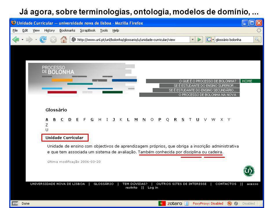 Já agora, sobre terminologias, ontologia, modelos de domínio,...