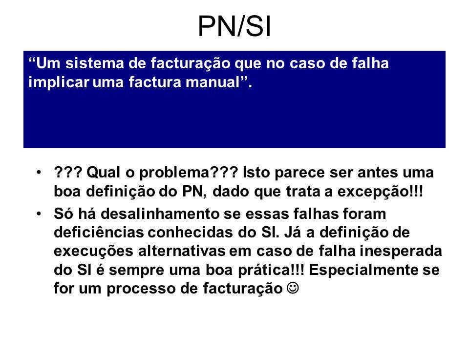 PN/SI Um sistema de facturação que no caso de falha implicar uma factura manual.