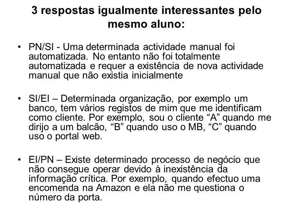3 respostas igualmente interessantes pelo mesmo aluno: PN/SI - Uma determinada actividade manual foi automatizada.