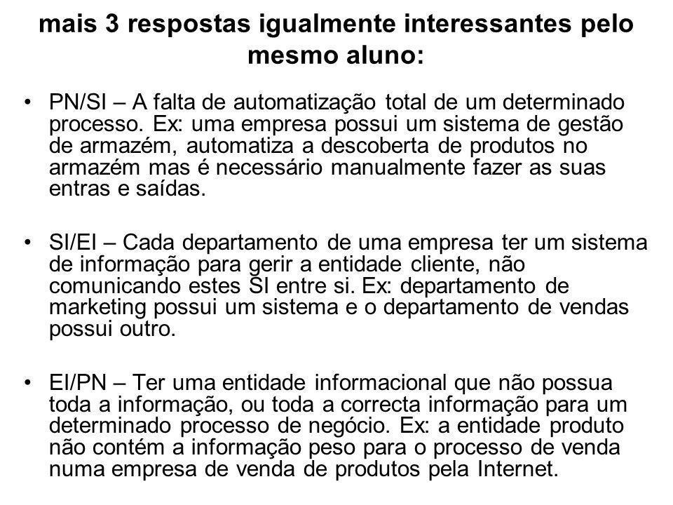 mais 3 respostas igualmente interessantes pelo mesmo aluno: PN/SI – A falta de automatização total de um determinado processo.