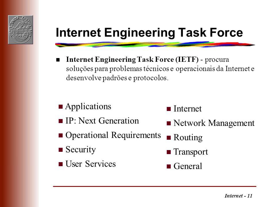 Internet - 11 Internet Engineering Task Force Internet Engineering Task Force (IETF) - procura soluções para problemas técnicos e operacionais da Inte