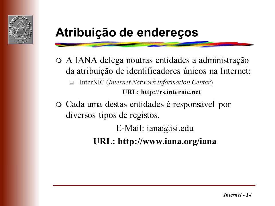 Internet - 14 Atribuição de endereços m A IANA delega noutras entidades a administração da atribuição de identificadores únicos na Internet: q InterNI