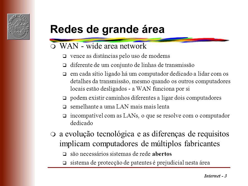 Internet - 3 Redes de grande área m WAN - wide area network q vence as distâncias pelo uso de modems q diferente de um conjunto de linhas de transmiss