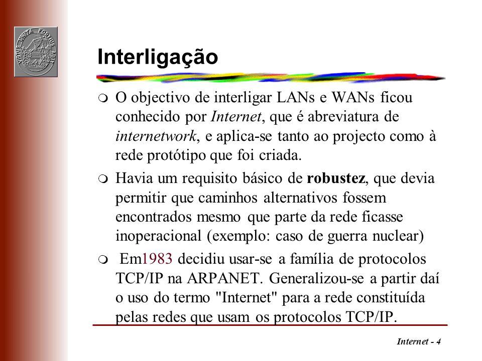Internet - 5 Rede de redes m A Internet é constituída por: q Backbones: infraestruturas de interligação de redes, como o NSFNET, nos USA, e o EBONE na Europa, bem como backbones comerciais q Redes regionais, ligando, por exemplo universidades e institutos de investigação; q Redes comerciais, por exemplo, para uso interno ou para fornecimento de serviços a assinantes, com ligações à Internet.
