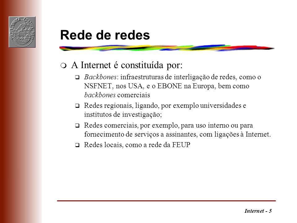 Internet - 16 A Internet em Portugal m A Internet em Portugal q Anos 80X.25 q Nó EARN em Lisboa q 1986 FCCN URL:http://www.fccn.pt RCCN RCTS