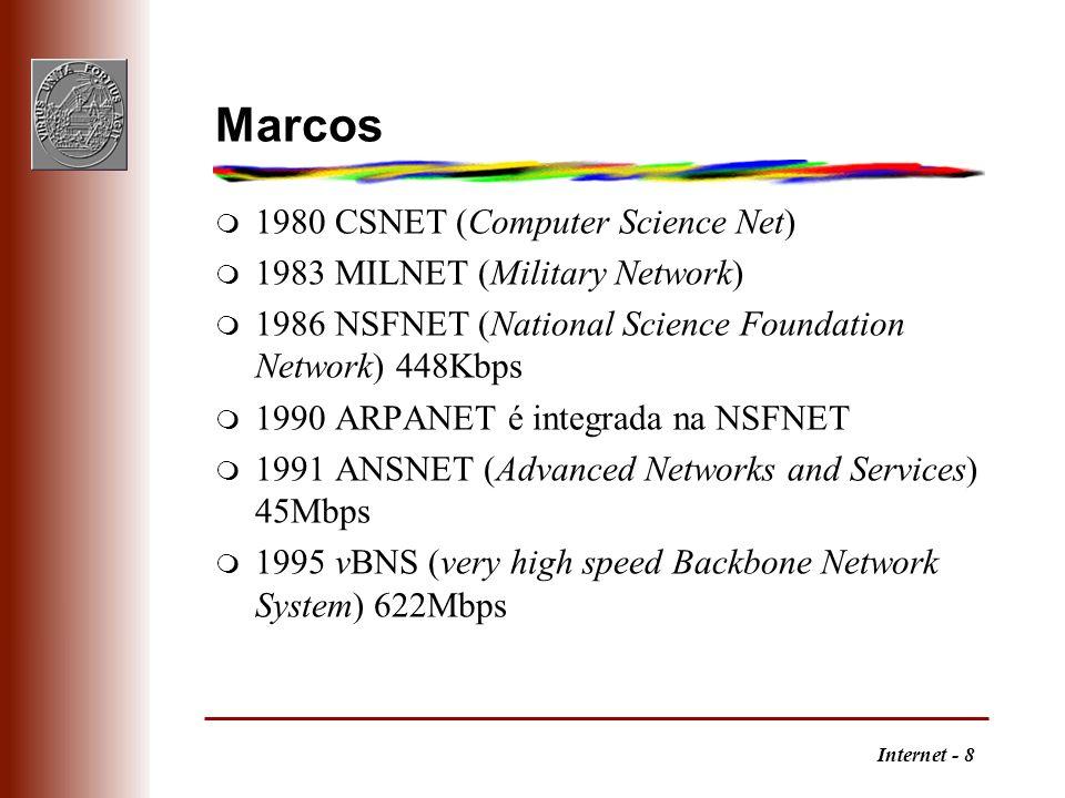 Internet - 9 Internet Society m A Internet Society (ISOC) é uma organização internacional, fundada em1992, dedicada à expansão, desenvolvimento e acessibilidade da Internet.