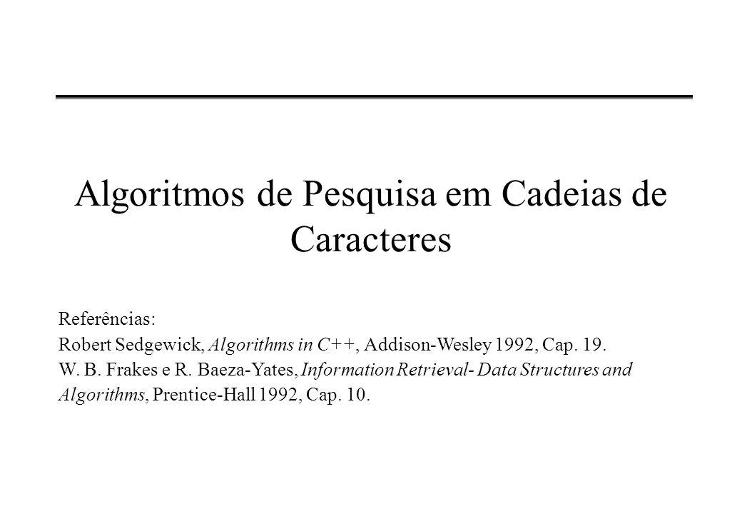 Algoritmos de Pesquisa em Cadeias de Caracteres Referências: Robert Sedgewick, Algorithms in C++, Addison-Wesley 1992, Cap. 19. W. B. Frakes e R. Baez