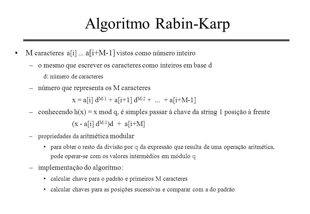 Algoritmo Rabin-Karp M caracteres a[i]... a[i+M-1] vistos como número inteiro –o mesmo que escrever os caracteres como inteiros em base d d: número de