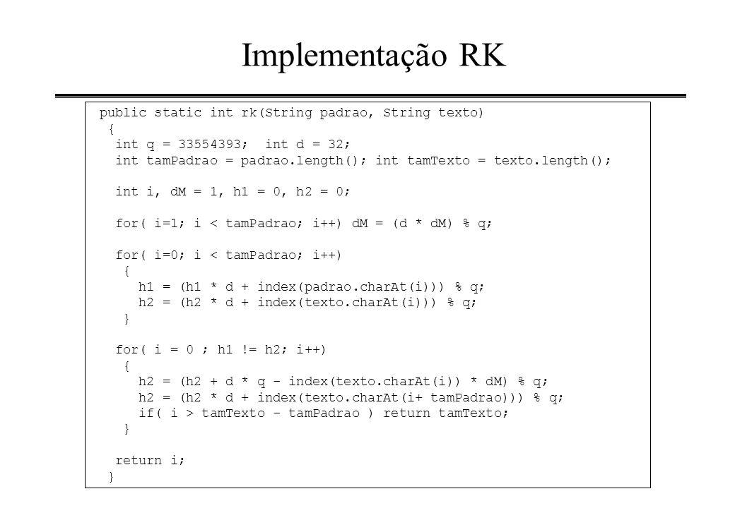 Implementação RK public static int rk(String padrao, String texto) { int q = 33554393; int d = 32; int tamPadrao = padrao.length(); int tamTexto = tex