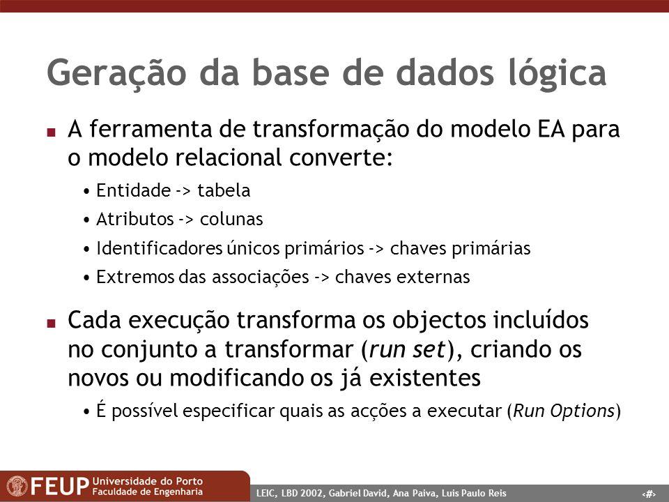 1 LEIC, LBD 2002, Gabriel David, Ana Paiva, Luis Paulo Reis Geração da base de dados lógica n A ferramenta de transformação do modelo EA para o modelo