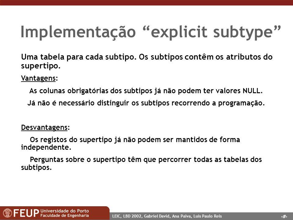 10 LEIC, LBD 2002, Gabriel David, Ana Paiva, Luis Paulo Reis Implementação explicit subtype Uma tabela para cada subtipo. Os subtipos contêm os atribu
