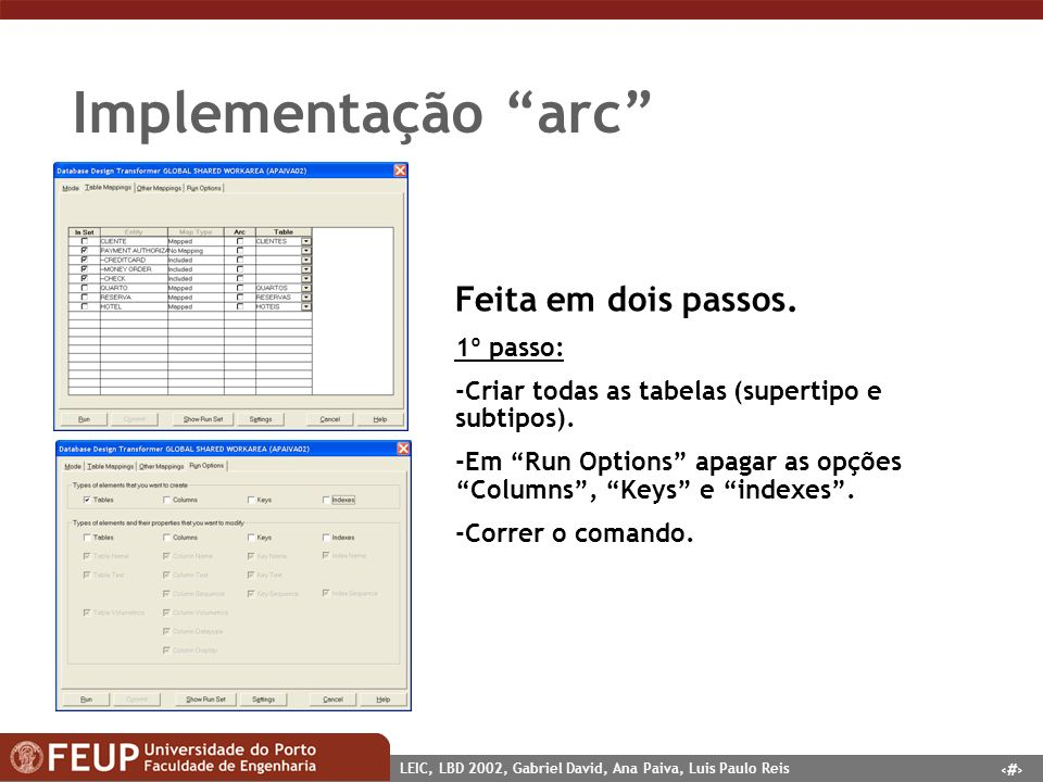 13 LEIC, LBD 2002, Gabriel David, Ana Paiva, Luis Paulo Reis Implementação arc Feita em dois passos. 1º passo: -Criar todas as tabelas (supertipo e su