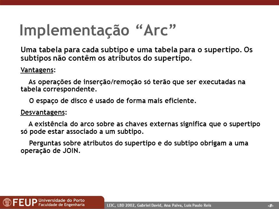 15 LEIC, LBD 2002, Gabriel David, Ana Paiva, Luis Paulo Reis Implementação Arc Uma tabela para cada subtipo e uma tabela para o supertipo. Os subtipos
