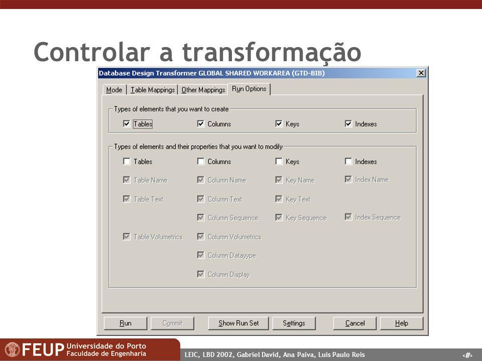 4 LEIC, LBD 2002, Gabriel David, Ana Paiva, Luis Paulo Reis Controlar a transformação