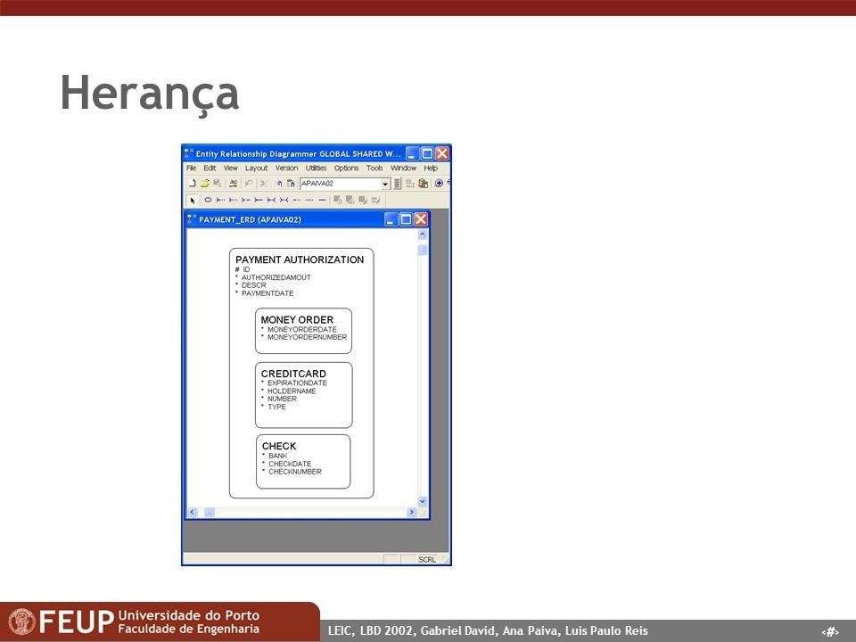 7 LEIC, LBD 2002, Gabriel David, Ana Paiva, Luis Paulo Reis Implementação supertype