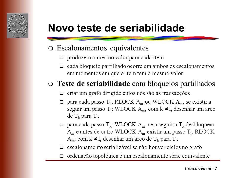 Concorrência - 3 Exemplo q Bloqueio em duas fases garantiria escalonamento serializável T 1 T 2 T 3 T 4 WLOCK A RLOCK B UNLOCK A RLOCK A UNLOCK B WLOCK B RLOCK A UNLOCK B WLOCK B UNLOCK A WLOCK A UNLOCK B RLOCK B UNLOCK A UNLOCK B T3T3 T2T2 T1T1 T4T4 Não serializável