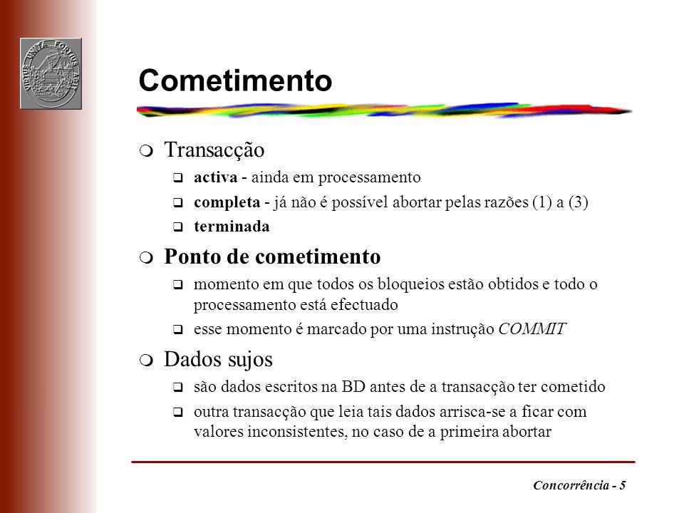 Concorrência - 5 Cometimento m Transacção q activa - ainda em processamento q completa - já não é possível abortar pelas razões (1) a (3) q terminada