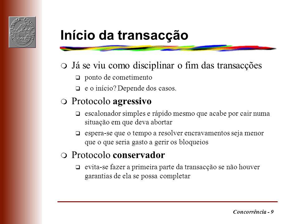Concorrência - 9 Início da transacção m Já se viu como disciplinar o fim das transacções q ponto de cometimento q e o início? Depende dos casos. m Pro
