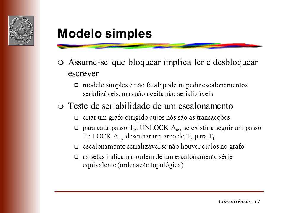 Concorrência - 12 Modelo simples m Assume-se que bloquear implica ler e desbloquear escrever q modelo simples é não fatal: pode impedir escalonamentos serializáveis, mas não aceita não serializáveis m Teste de seriabilidade de um escalonamento q criar um grafo dirigido cujos nós são as transacções q para cada passo T k : UNLOCK A m, se existir a seguir um passo T l : LOCK A m, desenhar um arco de T k para T l.