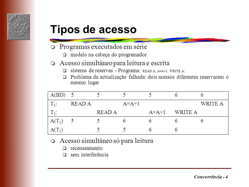 Concorrência - 15 Contra-exemplo m T 1 não é de duas fases não serializável q T 1 : LOCK A; UNLOCK A; LOCK B; UNLOCK B q T 2 : LOCK A; LOCK B; UNLOCK A; UNLOCK B q T 1 T 2 LOCK A … UNLOCK A LOCK A LOCK B UNLOCK A UNLOCK B LOCK B UNLOCK B m conclusão: bloqueio em duas fases é óptimo T1T1 T2T2