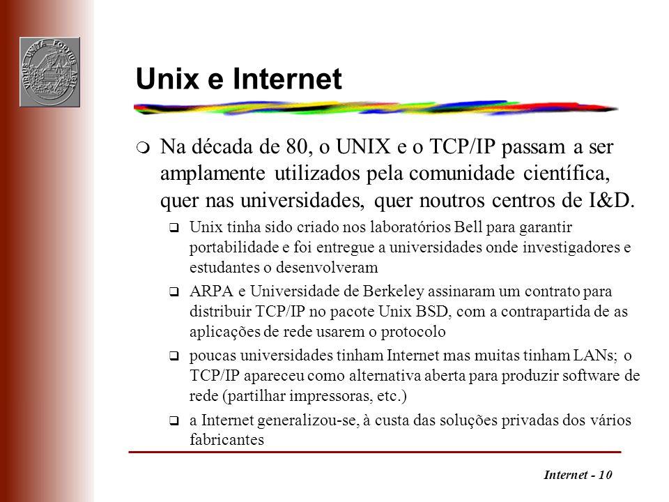 Internet - 10 Unix e Internet m Na década de 80, o UNIX e o TCP/IP passam a ser amplamente utilizados pela comunidade científica, quer nas universidad
