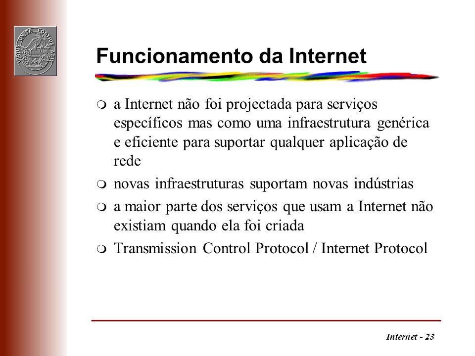 Internet - 23 Funcionamento da Internet m a Internet não foi projectada para serviços específicos mas como uma infraestrutura genérica e eficiente par