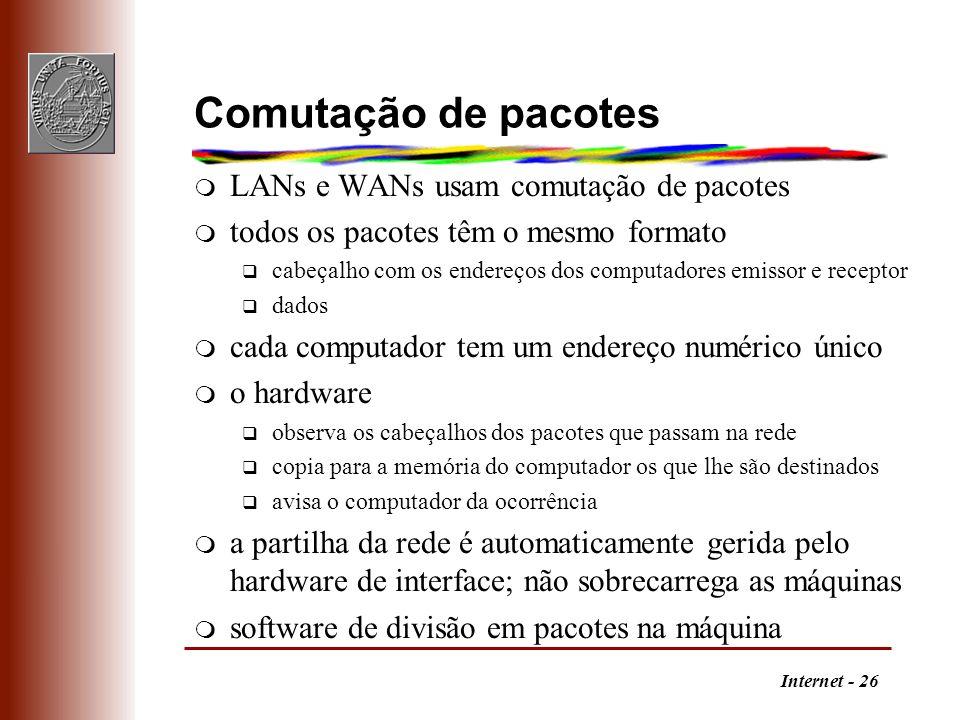Internet - 26 Comutação de pacotes m LANs e WANs usam comutação de pacotes m todos os pacotes têm o mesmo formato q cabeçalho com os endereços dos com
