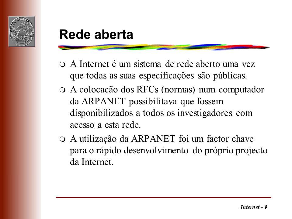 Internet - 9 Rede aberta m A Internet é um sistema de rede aberto uma vez que todas as suas especificações são públicas. m A colocação dos RFCs (norma