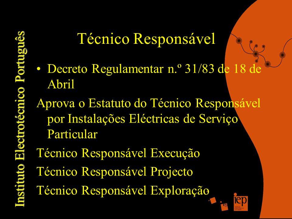 Técnico Responsável Decreto Regulamentar n.º 31/83 de 18 de Abril Aprova o Estatuto do Técnico Responsável por Instalações Eléctricas de Serviço Particular Técnico Responsável Execução Técnico Responsável Projecto Técnico Responsável Exploração Instituto Electrotécnico Português