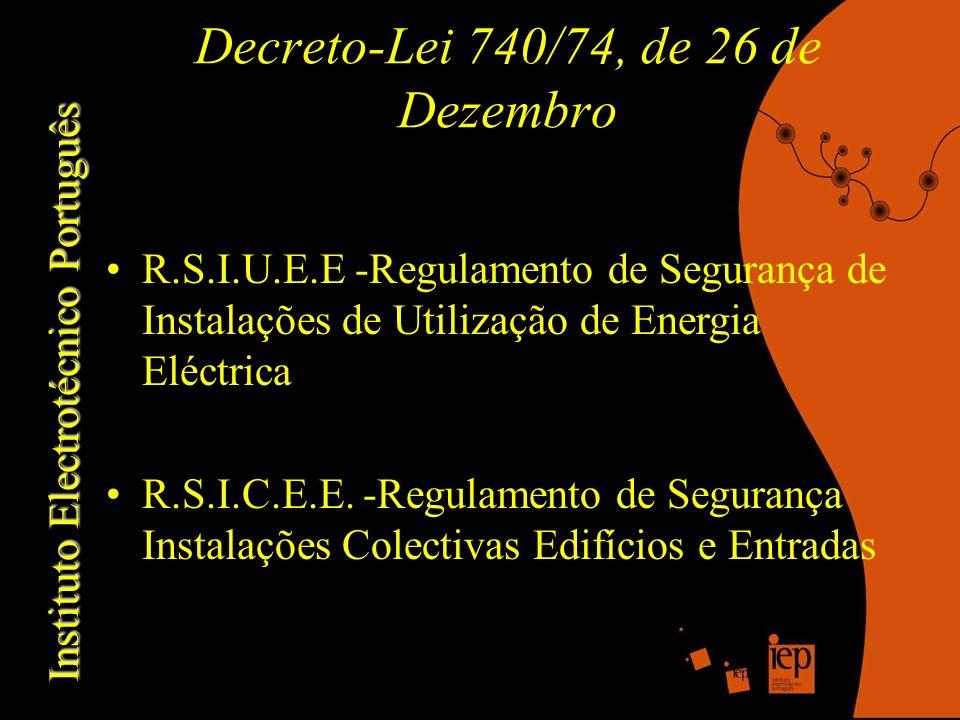 Instituto Electrotécnico Português Decreto-Lei 740/74, de 26 de Dezembro R.S.I.U.E.E -Regulamento de Segurança de Instalações de Utilização de Energia Eléctrica R.S.I.C.E.E.
