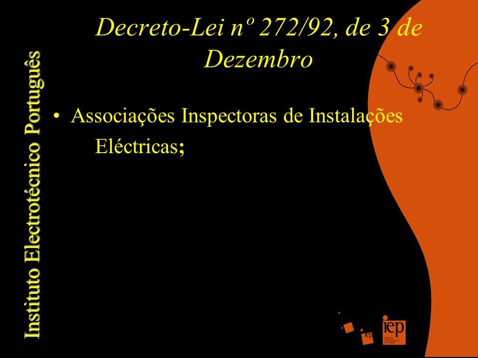 Instituto Electrotécnico Português Decreto-Lei nº 272/92, de 3 de Dezembro Associações Inspectoras de Instalações Eléctricas;