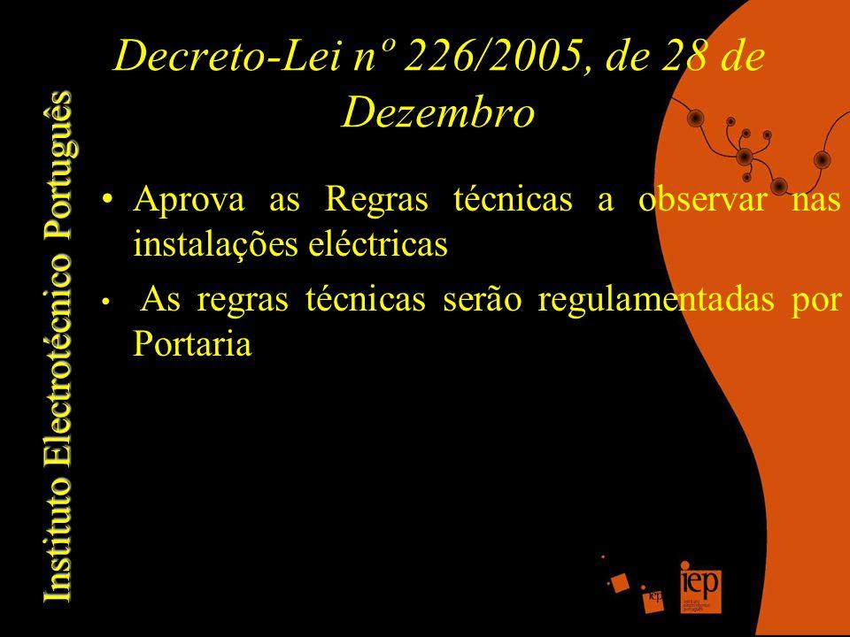 Decreto-Lei nº 226/2005, de 28 de Dezembro Aprova as Regras técnicas a observar nas instalações eléctricas As regras técnicas serão regulamentadas por Portaria