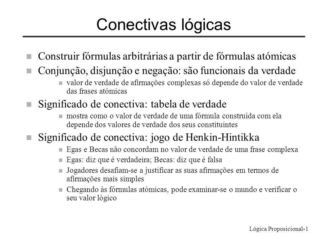 Lógica Proposicional-22 Métodos de prova n Prova por casos (eliminação da disjunção) – Fórmula a provar: F – Disjunção já provada: P Q – Mostra-se que se obtém F se se assumir P, e que se obtém F se se assumir Q ; um deles tem de verificar-se, e conclui-se F – Generaliza-se a qualquer número de elementos na disjunção n Prova por contradição (introdução de negação) – Fórmula a provar: F – Premissas: P, Q, R, … – Assumir F, e mostrar que se obtém uma contradição – F é consequência lógica das premissas